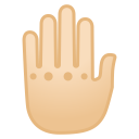 Raised back of hand light skin tone icon