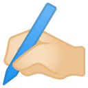 Writing hand light skin tone icon