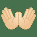 Open hands light skin tone icon