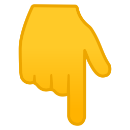 Backhand index pointing down icon