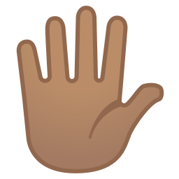 Hand with fingers splayed medium skin tone icon