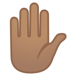 Raised hand medium skin tone icon