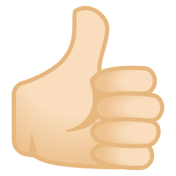 Thumbs up light skin tone icon