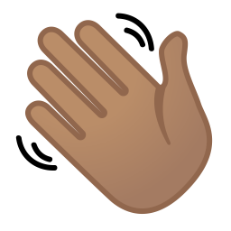 Waving hand medium skin tone icon