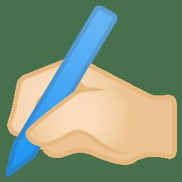 Writing hand light skin tone icon