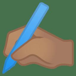 Writing hand medium skin tone icon