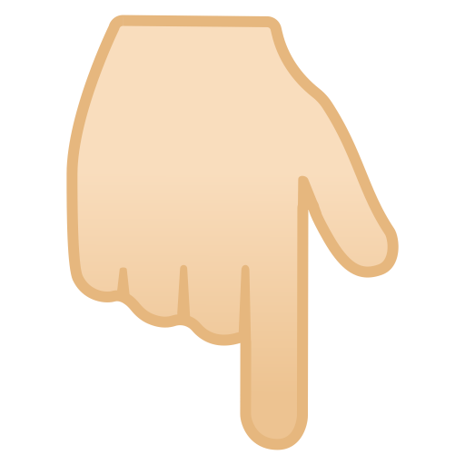 11953-backhand-index-pointing-down-light-skin-tone icon