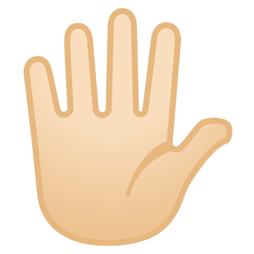 11991-hand-with-fingers-splayed-light-skin-tone icon