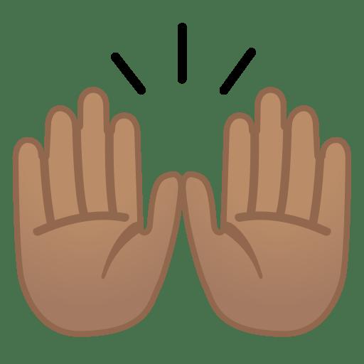 Raising hands medium skin tone icon