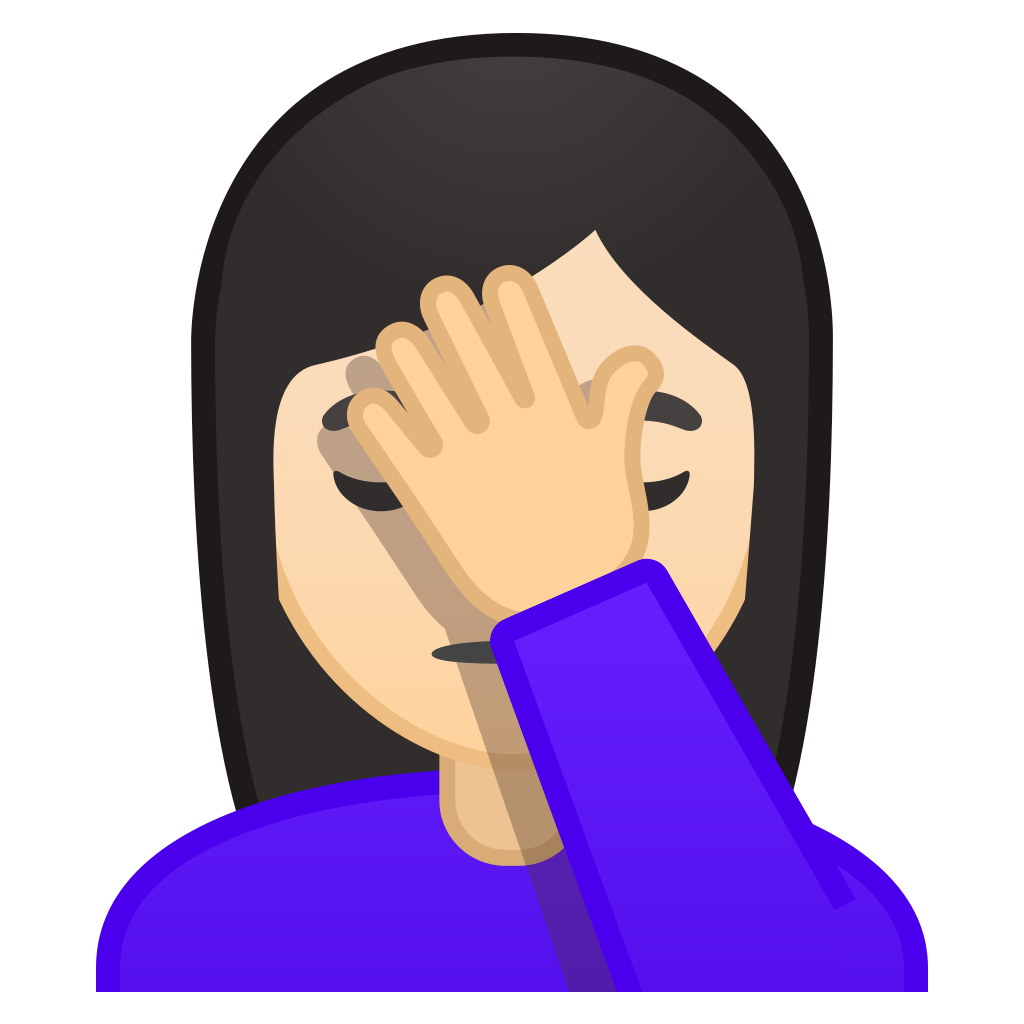 Woman facepalming light skin tone Icon | Noto Emoji People ...