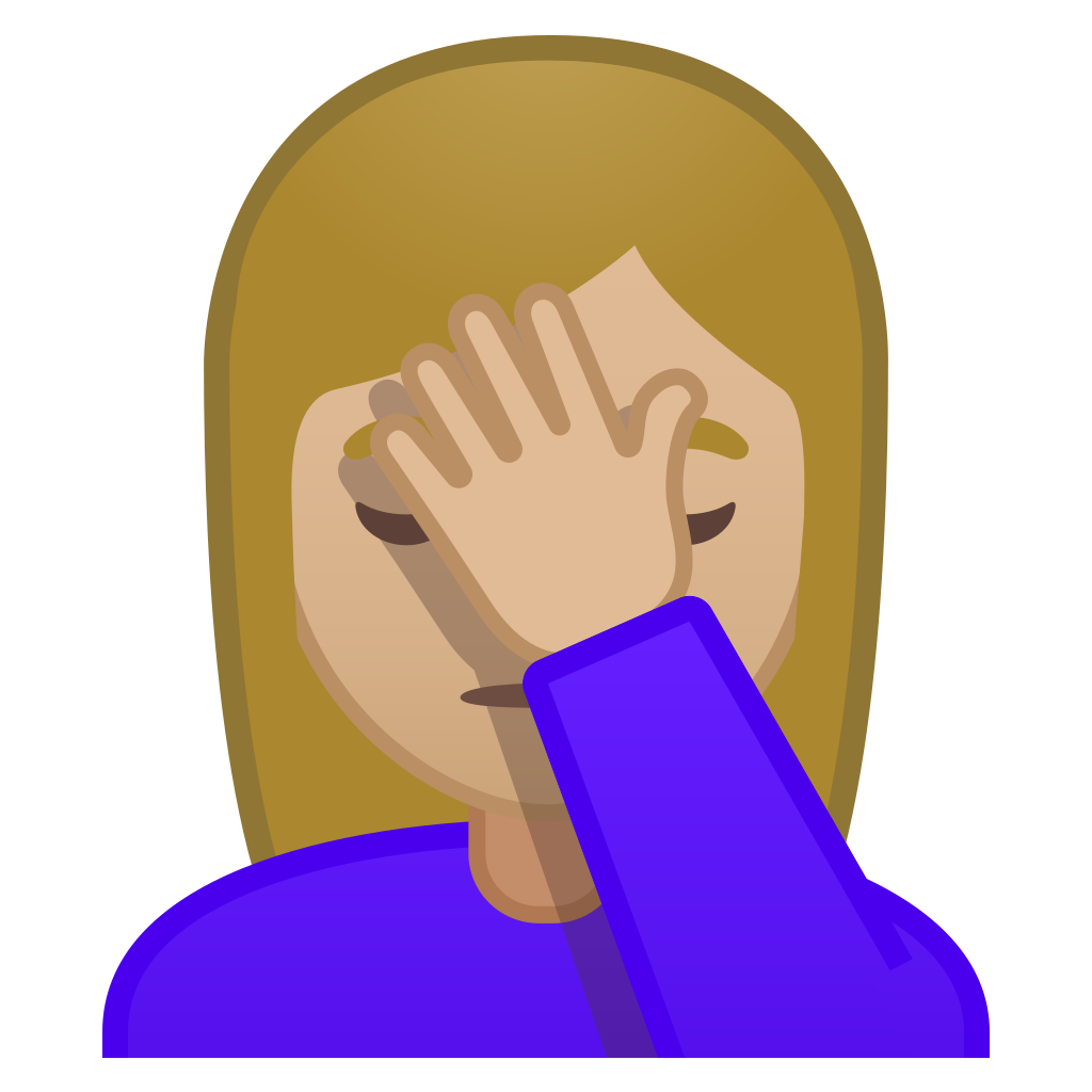 Woman facepalming medium light skin tone Icon | Noto Emoji