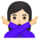 Woman gesturing NO light skin tone icon