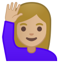 Woman raising hand medium light skin tone icon