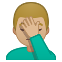 Man facepalming medium light skin tone icon