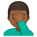 Man facepalming medium dark skin tone icon
