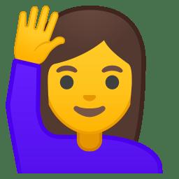 Woman raising hand icon