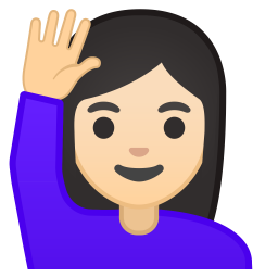 Woman raising hand light skin tone icon