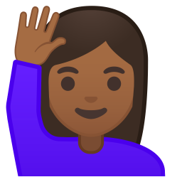 Woman raising hand medium dark skin tone icon