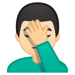 Man facepalming light skin tone icon