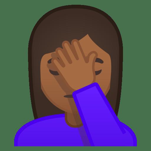 Woman facepalming medium dark skin tone icon