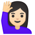 11106-woman-raising-hand-light-skin-tone icon