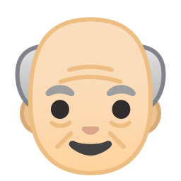 Old man light skin tone icon