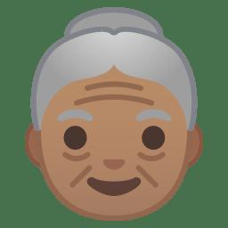 Old woman medium skin tone icon