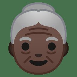 Old woman dark skin tone icon