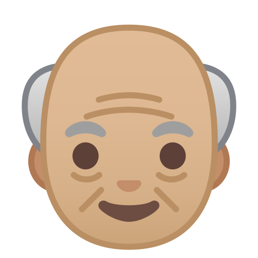 Old man medium light skin tone icon