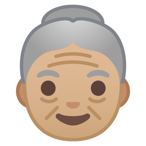 Old woman medium light skin tone icon