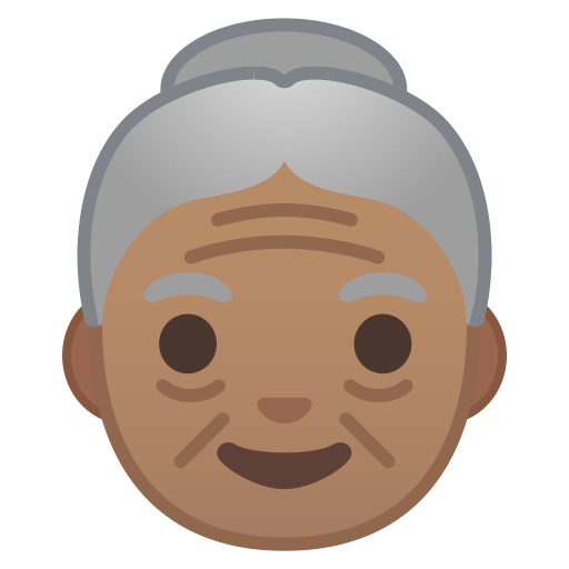 Old woman medium skin tone icon