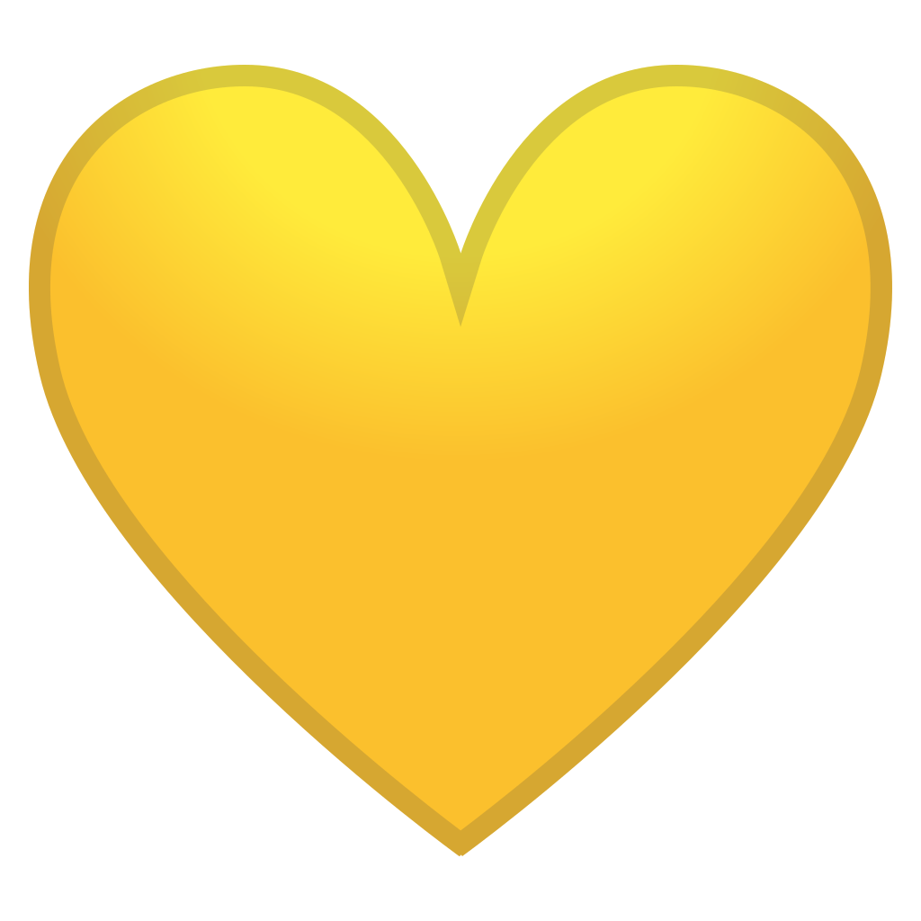 yellow heart icon noto emoji people family amp love