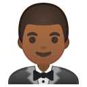 Man in tuxedo medium dark skin tone icon