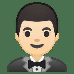 Man in tuxedo light skin tone icon