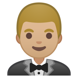 Man in tuxedo medium light skin tone icon