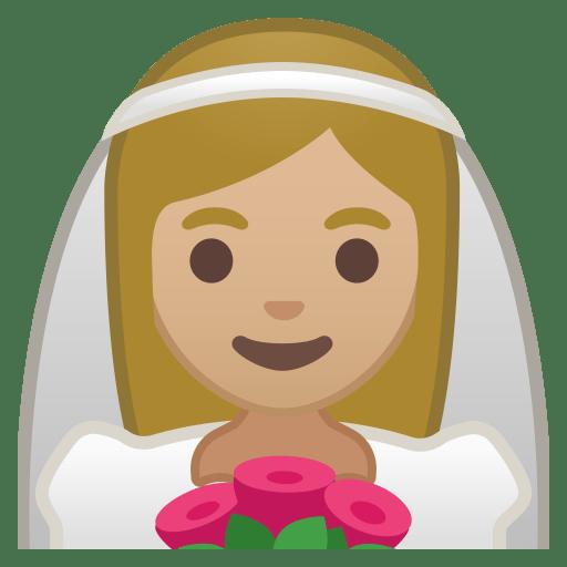 Bride with veil medium light skin tone icon