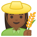 Woman farmer medium dark skin tone icon