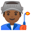 Man factory worker medium dark skin tone icon
