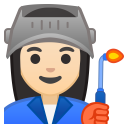 Woman factory worker light skin tone icon