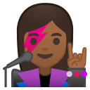 Woman singer medium dark skin tone icon