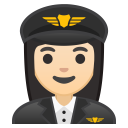 Woman pilot light skin tone icon