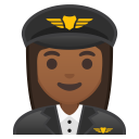 Woman pilot medium dark skin tone icon