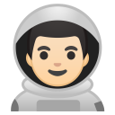 Man astronaut light skin tone icon