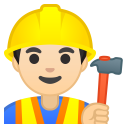 Man construction worker light skin tone icon