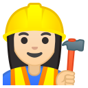 Woman construction worker light skin tone icon