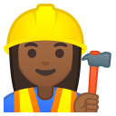 Woman construction worker medium dark skin tone icon