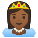 Princess medium dark skin tone icon