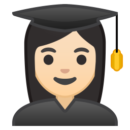 Woman student light skin tone icon