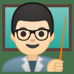 Man teacher light skin tone icon