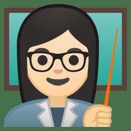 Woman teacher light skin tone icon